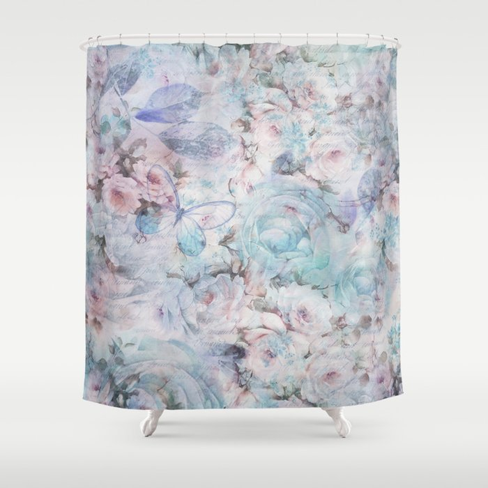 Shabby Vintage Pastel Pink Teal Floral Butterfly Typography Shower Curtain By Water