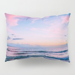 Pink and Blue Peaceful Ocean Sunset Pillow Sham