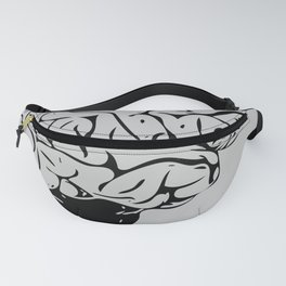 Braaains (black on grey) Fanny Pack