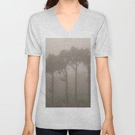 Four Pine Trees in the Fog Unisex V-Neck