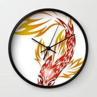 koi fish Wall Clocks featuring Koi Fish by Dani Rose