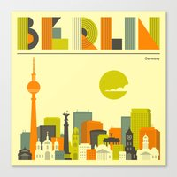 berlin Canvas Prints featuring BERLIN by Jazzberry Blue