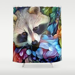 Peekaboo Raccoon Shower Curtain