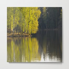 New Leaves of Birch - Vivid Green Color Reflection on Water Surface #decor #society6 #buyart Metal Print