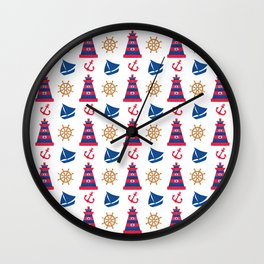 Modern blue red orange watercolor nautical pattern Wall Clock