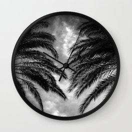 Palm Trees In Noir At First Light of Dawn Wall Clock