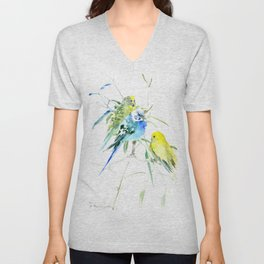 Parakeets green yellow blue bird decor Unisex V-Neck