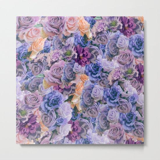 purple flowers pattern  Metal Print