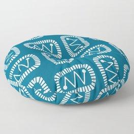 Mid Century Modern Atomic Radar Peacock Blue Floor Pillow
