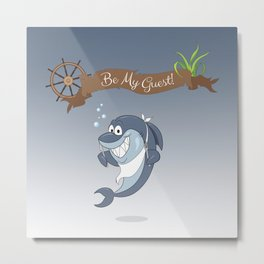 Cartoon Shark Metal Print