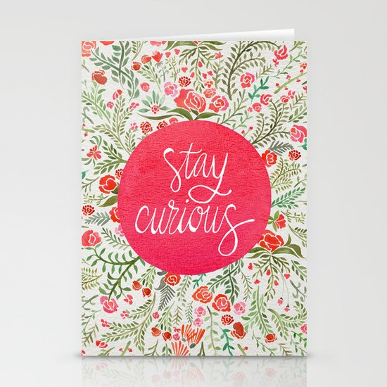 Stay Curious – Pink & Green Stationery Cards