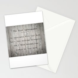 The Four Agreements Wood Background Stationery Cards