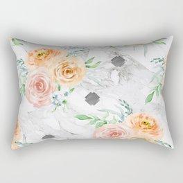 Beautiful Pastel Flowers on Marble Rectangular Pillow