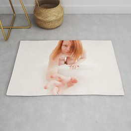 8723s-MM Crouching Woman Reaching Out High Key Art Nude Red Hair Rug