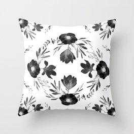 Floral Square Black & White Throw Pillow