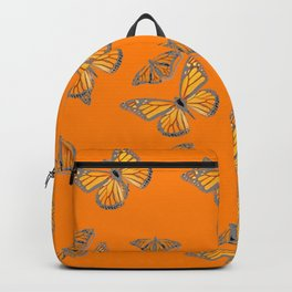 ABSTRACT GREY MONARCH BUTTERFLIES ON ORANGE Backpack