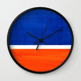 Colorful Bright Minimalist Rothko Orange And Blue Midcentury Modern Art Vintage Pop Art Wall Clock