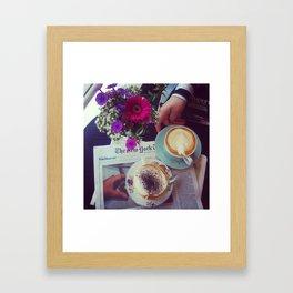 Coffee, Flowers, Friends Framed Art Print