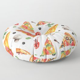 Pizza Pattern, Food Pattern, Watercolor Pizza Floor Pillow
