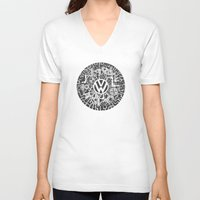 volkswagen V-neck T-shirts featuring Volkswagen Steampunk Mechanical Doodle by Squidoodle