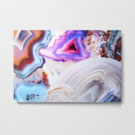 Agate, a vivid Metamorphic rock on Fire Metal Print