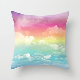 Clouds in a Rainbow Unicorn Sky Throw Pillow
