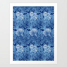 Jacobean Flower Damask, Cobalt and Light Blue Kunstdrucke