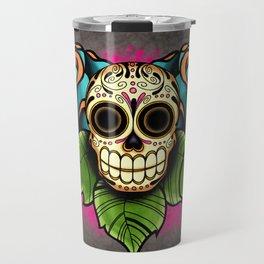 Sugar Skull and Roses - Day of the Dead Calavera Travel Mug