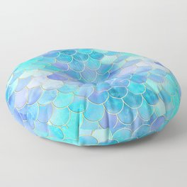 Aqua Pearlescent & Gold Mermaid Scale Pattern Floor Pillow