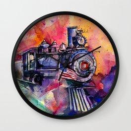 American Train by Kathy Morton Stanion Wall Clock