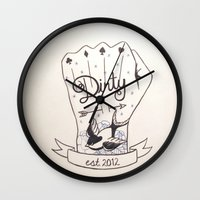 dirty dancing Wall Clocks featuring Dirty - Dirty by simonandrea