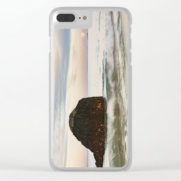 Pastel Moon rise at the beach Clear iPhone Case