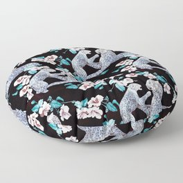 patterned with a leopard cub with its mother surrounded by the Chinese flower. Floor Pillow