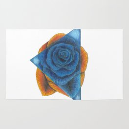 Orange and Blue Rose with Triangle Rug
