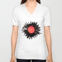 vinyl V-neck T-shirts featuring The vinyl of my life by Robert Farkas