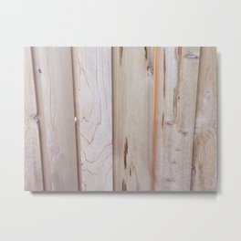 Pine Wood Fence, Boards in a Fence, Pine Boards, Wood Metal Print