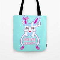 sylveon Tote Bags featuring shiny sylveon by deerboywonder