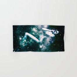 Teal Turquoise Blue Galaxy Woman : Nude Art Hand & Bath Towel