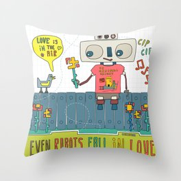 Even robots fall in love Throw Pillow