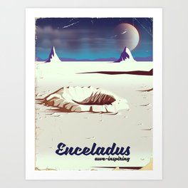enceladus moon travel poster Art Print