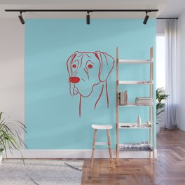 Great Dane (Cyan and Red) Wall Mural