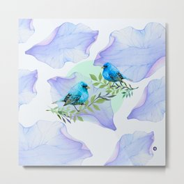 Blue nature - leaves and birds Metal Print