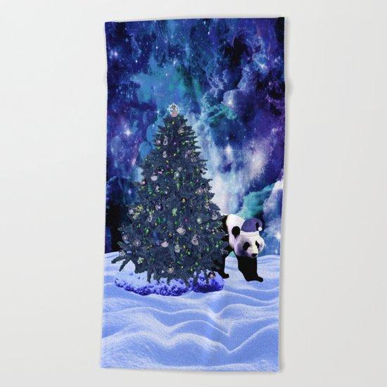 Panda's Christmas Holiday at the North Pole Beach Towel