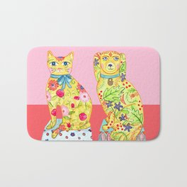 Boho Floral Cat and Dog Figurines Bath Mat