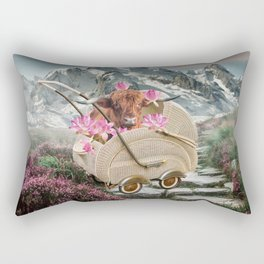 Highland Cattle Cow in Baby Carriage with Lotus Flower Rectangular Pillow