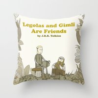 legolas Throw Pillows featuring Legolas and Gimli Are Friends by James E. Hopkins