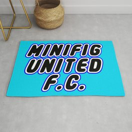 MINIFIG UNITED FOOTBALL CLUB [F.C.] in Brick Font Logo Design [Alternate Colors] by Chillee Wilson Rug