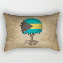 Vintage Tree of Life with Flag of Bahamas Rectangular Pillow