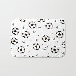 Fun grass and soccer ball sports illustration pattern Bath Mat