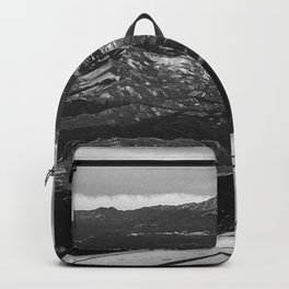 5280 Snowcap // Grainy Black & White Airplane Wing Landscape Photography of Colorado Rocky Mountains Backpack